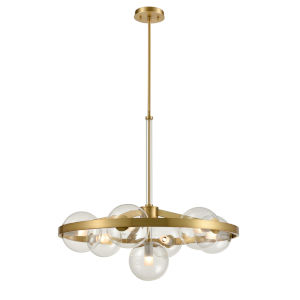 Courcelette Venetian Brass Seven-Light Chandelier with Clear Glass