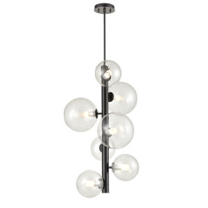 Courcelette Graphite Seven-Light Foyer Pendant with Clear Glass
