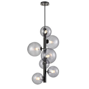 Courcelette Graphite Seven-Light Foyer Pendant with Smoke Glass