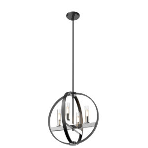Mont Royal Chrome and Graphite 116-Inch Four-Light Pendant