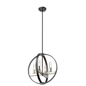 Mont Royal Satin Nickel and Graphite 16-Inch Four-Light Pendant