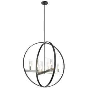 Mont Royal Satin Nickel and Graphite Eight-Light Pendant