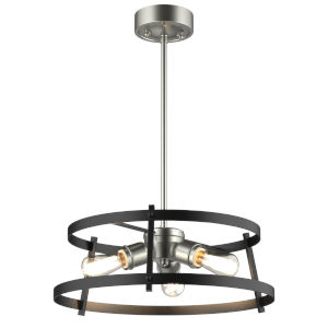 Gentry Satin Nickel and Graphite 17-Inch Three-Light Pendant