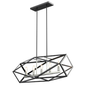 Polygon Satin Nickel and Graphite Five-Light Pendant