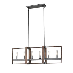 Blairmore Graphite and Ironwood Six-Light Pendant