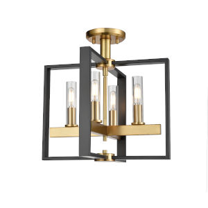 Blairmore Venetian Bronze and Graphite Four-Light Semi Flushmount