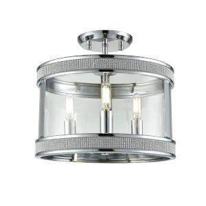 Diadem Chrome Three-Light Semi Flushmount
