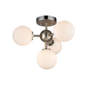 Alouette Chrome and Brushed Nickel Four-Light Semi Flushmount
