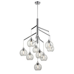 Andromeda Graphite Nine-Light Foyer Pendant with Clear Glass
