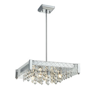 Roxboro Chrome and Crystal Five-Light Pendant