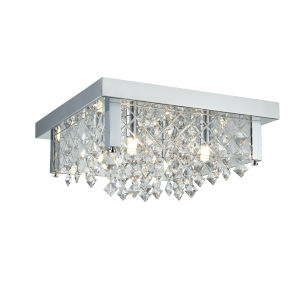 Roxboro Chrome and Crystal Four-Light Flushmount