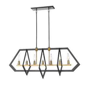 Flechette Brass and Graphite Seven-Light Pendant