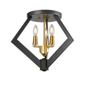 Flechette Brass and Graphite Three-Light Flushmount