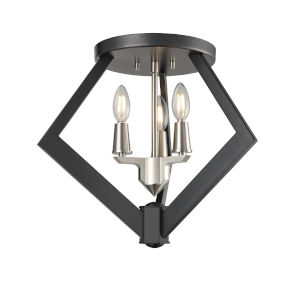 Flechette Satin Nickel and Graphite Three-Light Flushmount
