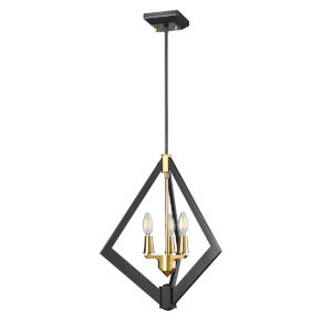 Flechette Brass and Graphite Three-Light Pendant