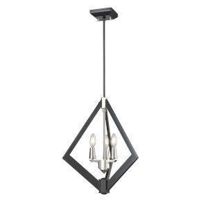 Flechette Satin Nickel and Graphite Three-Light Pendant