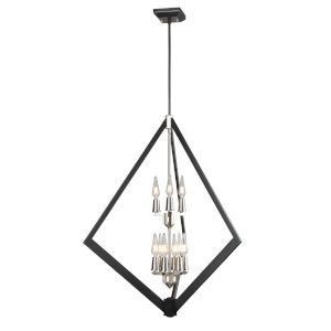 Flechette Satin Nickel and Graphite Nine light Pendant