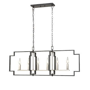 Provence Satin Nickel and Graphite Six-Light Pendant