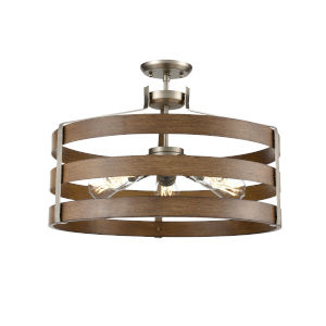 Fort Garry Brushed Nickel and Barnwood Two-Light Semi Flushmount