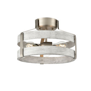 Fort Garry Brushed Nickel and Beachwood Two-Light Semi Flushmount