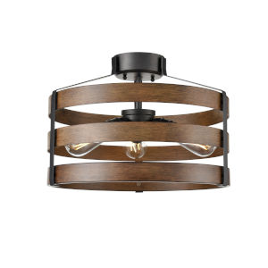 Fort Garry Graphite and Ironwood Three-Light Semi Flushmount