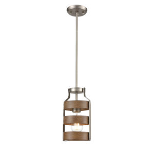 Fort Garry Brushed Nickel and Barnwood One-Light Mini Pendant