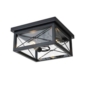 County Fair Black Two-Light Outdoor Flush Mount with Clear Glass