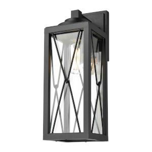 County Fair Black One-Light Outdoor Wall Mount with Clear Glass