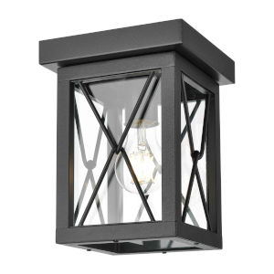 County Fair Black One-Light Outdoor Flush Mount with Clear Glass