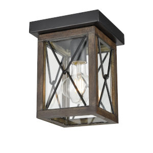 County Fair Black and Iron Wood One-Light Outdoor Flushmount