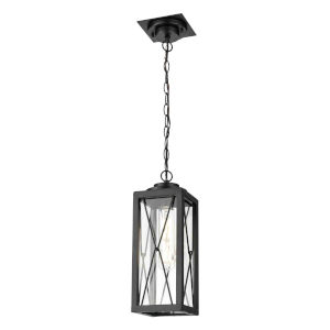 County Fair Black One-Light Outdoor Pendant with Clear Glass