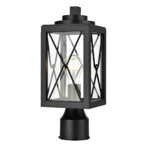 County Fair Black One-Light Outdoor Post Lamp with Clear Glass