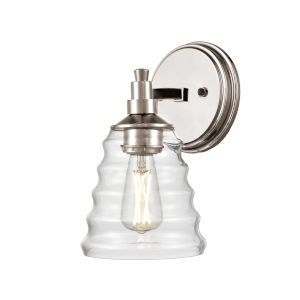 Campbellville Buffed Nickel One-Light Wall Sconce with Beehive Glass