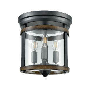 Niagara Graphite and Ironwood Three-Light Flushmount