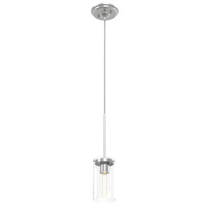 Erin Buffed Nickel One-Light Mini Pendant with Clear Glass