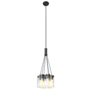 Erin Graphite Six-Light Pendant with Clear Glass
