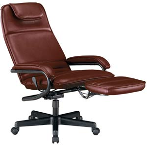 Burgundy Vinyl Power Rest Executive Recliner