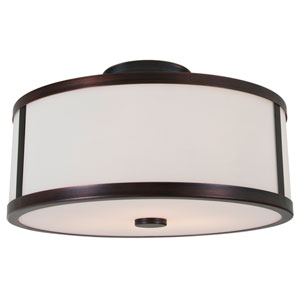 Uptown Oil Rubbed Bronze Three-Light Semi Flush Mount