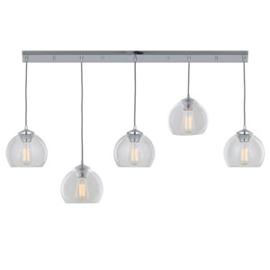 Oberon Chrome Five-Light Mini Pendants on Round Pan