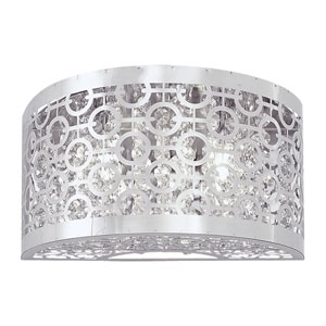 Eclipse Chrome 12-Inch Two-Light Wall Sconce with Crystal Droplets