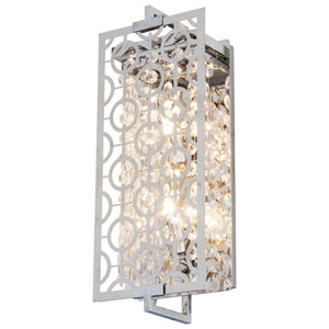 Eclipse Chrome 6-Inch Two-Light Wall Sconce with Crystal Droplets