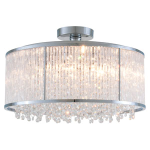 Sparxx Chrome 18.5-Inch Six-Light Semi Flush Mount