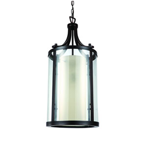 Essex Oil Rubbed Bronze 13.5-Inch Two-Light Pendant with Opal Glass