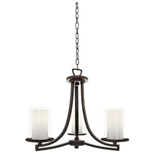 Essex Oil Rubbed Bronze 20-Inch Three-Light Chandelier with Opal Glass
