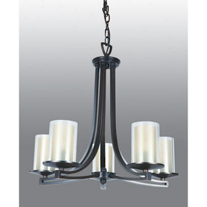 Essex Oil Rubbed Bronze 25-Inch Five-Light Chandelier with Opal Glass