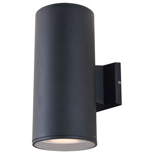Summerside Matte Black 12-Inch Two-Light Outdoor Sconce, 100W