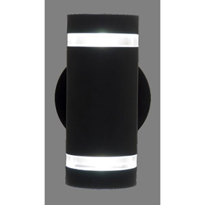 Summerside Matte Black 9.5-Inch Two-Light Outdoor Sconce