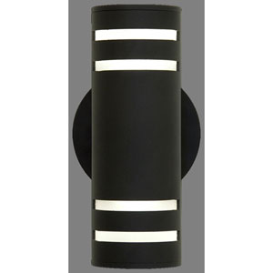 Summerside Matte Black 12-Inch Two-Light Outdoor Sconce