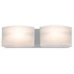 Vanguard Chrome Two-Light Vanity with Half Opal Glass