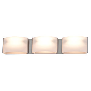 Vanguard Satin Nickel Three-Light Vanity with Half Opal Glass